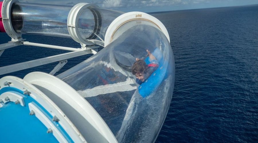 Terrifying new waterslide sends you flying over cruise ship